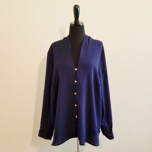 Eloquii Navy Long Sleeve Button Front Blouse 192